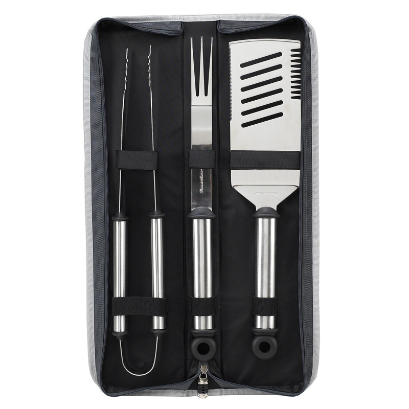 High Impact 3 Pcs Brushed Stainless Steel Barbecue Set